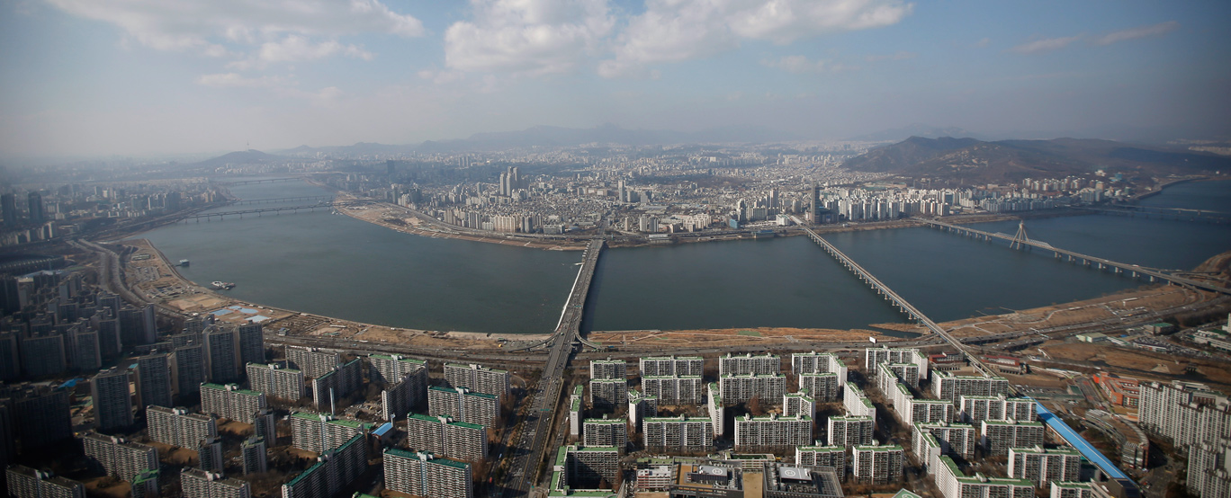 Han river and central Seoul are seen in this aerial view taken from 99th floor of Lotte World Tower, which is currently under construction, in Seoul